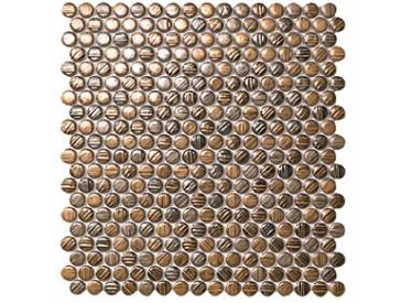 Mozaic Ceramic Mek Gold Circles 29x31cm 1 - Liv Art